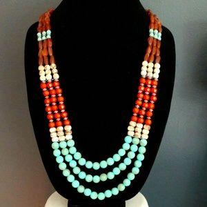 Southwest inspired 3 strand necklace